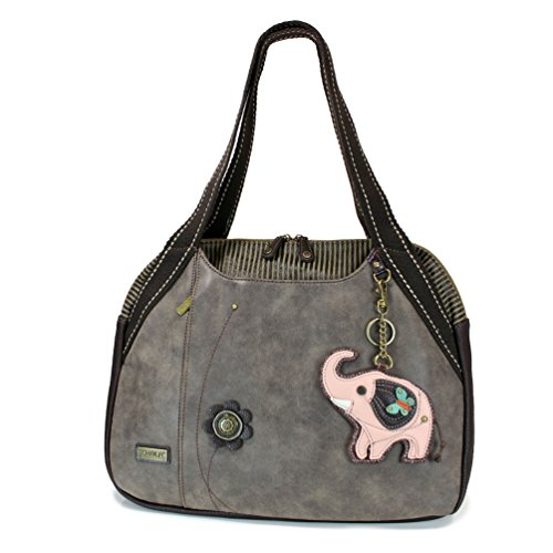 Chala Bowling Tote Bag with coin purse (Stone Gray) (Pink ()
