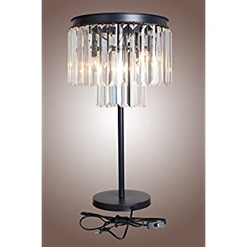 Table Lamp ,Crystal Nickel Plated Iron Frame Glass Fringe Luxe Crystal  Table Lamp Bedroom Night