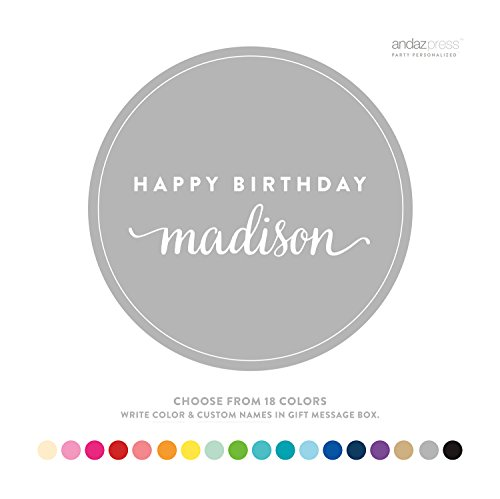 Andaz Press Personalized Circle Labels, Birthday, Happy Birthday Name, 40-Pack - CUSTOM MADE ANY NAME, COLOR, AGE (Happy Birthday Personalized)