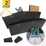 Coitak 2 PCS Car Seat Gap Organizer, PU Full Leather Car Seat Console Organizer, Black Car Seat Gap Filler