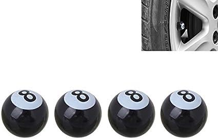 4 Stück Pkw Ventil Av Autoventil Schrader Kunststoff Ventilkappen Auch Geeignet Für Motorrad Fahrrad 8mm Eightball Billiardkugel Style American Billard Ball No 8 Sport Freizeit