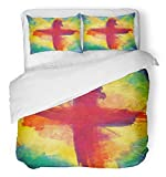 Emvency 3 Piece Duvet Cover Set Breathable Brushed Microfiber Fabric Cross of Bloody Red on Bursting Light Rays Abstract Artistic Lent Easter Christian Bedding Set with 2 Pillow Covers Twin Size