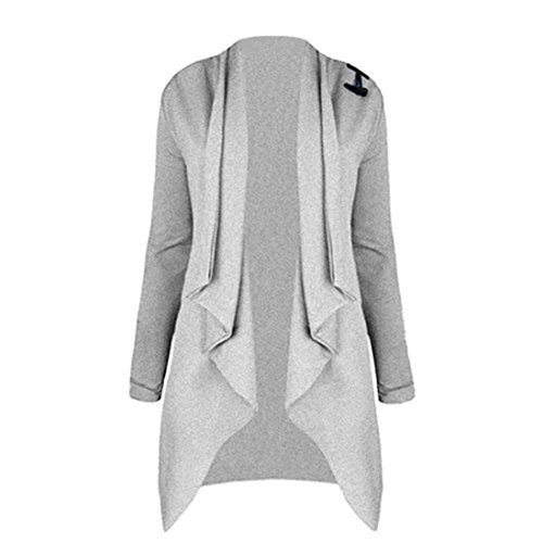 Double Breasted Velvet Costumes (Women Coat Hot Sale New Fashion Ladies Long Sleeve Cardigan Open Front Jacket Outwear Loose Top by Neartime (L, Gray))