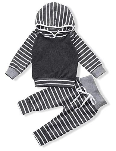 Newborn Baby Boy Clothes Long Sleeve Hoodie Sweatshirt Tops with Strip Pants Outfits Sets(6-12 Months) by Menglang