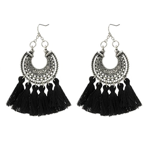 Shaped Tassel (Bohemian Woven U-Shaped Flower Tassel Earrings Cashmere Handmade Earrings,Black)