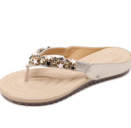 Pentáculo Holiday Beach Semana Plata Slippers La Mujer Bohemian Xiaoqi Decoración Summer Fashion Sandals Flat Soft Comfort De Beaded xZZ0qwfp6