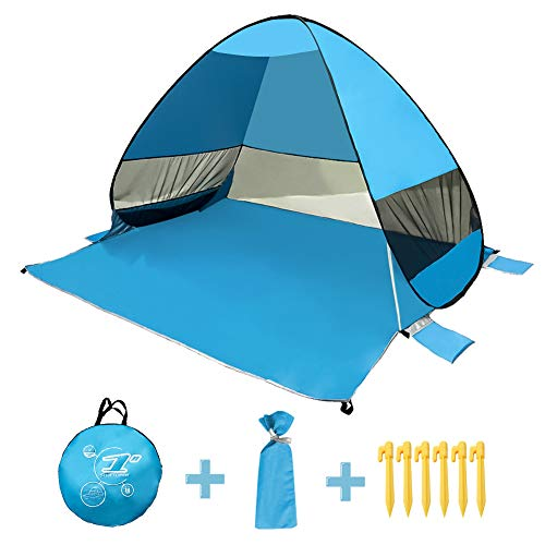 Pop Up Beach Tent for Kids, Portable Instant Sun Shelter Tent with Carry Bag, Sand Pocket, Offer UV 50+ Protection, Wind Proof & Waterproof, Large Space, Suitable for Camping, Hiking, Travelling (Best Beach Tent For Wind)