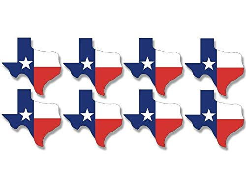 MAGNET Sheet of 8 (1.5 x 1.5 inch) Texas SHAPED TX Flags Stickers - scrapbooking shape Magnetic vinyl bumper sticker sticks to any metal fridge, car, signs