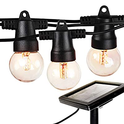 Brightech Ambience Pro - Waterproof Solar LED Outdoor String Lights - Hanging 1W Retro Edison Filament Bulbs - 27 Ft Globe Lights Create Bistro Ambience in Your Yard, Pergola