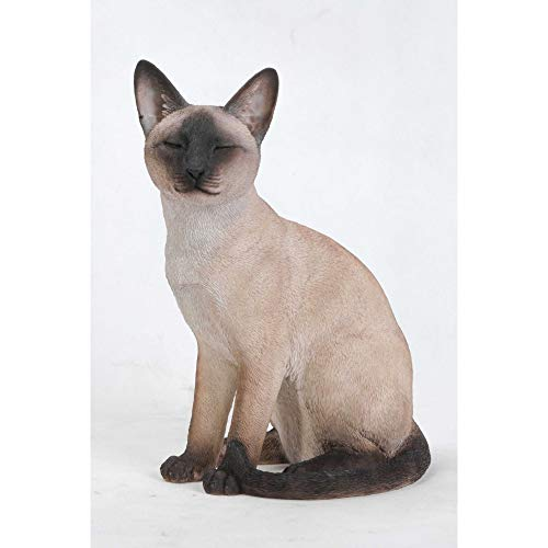 """Hi-Line Gifts 13.5"""" Brown and Black Sitting Siamese Cat Statue"""