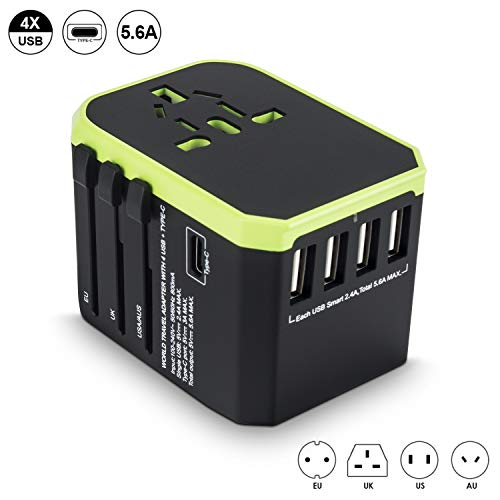 (Travel Adapter Worldwide, All in One Universal 4 USB 5.6A High Speed Charger and 1 3.0A Type C International Wall Charger with 1 AC Plug Adaptor for EU UK US AUS Phone Tablet)