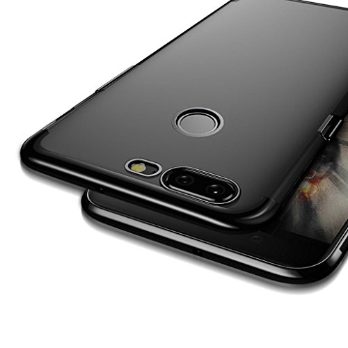 Price comparison product image Mchoice Ultrathin Plating Clear Slim Soft Silicone Case Cover for OnePlus 5T (Black)