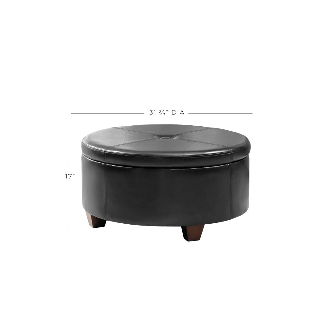 HomePop K5508-E676 Leatherette Round Button Tufted Storage Ottoman, 31.75'' x 16.50'', Black by HomePop (Image #8)