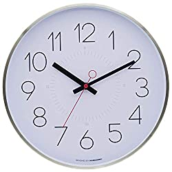 Marksson Kinney Clock 12 Inch Quartz Non-Ticking Silent   Stainless Steel Wall Clock   High End Mechanism   Perfect for Kitchen, Office, Lounge Room and Bedroom (Ghost White)
