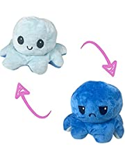 The Original Reversible Octopus Plushie Happy and Angry Show your mood without saying a word (Blue and light blue)