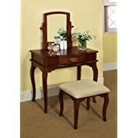 Furniture of America Priscille 2-Piece Vanity and Stool Set, Cherry