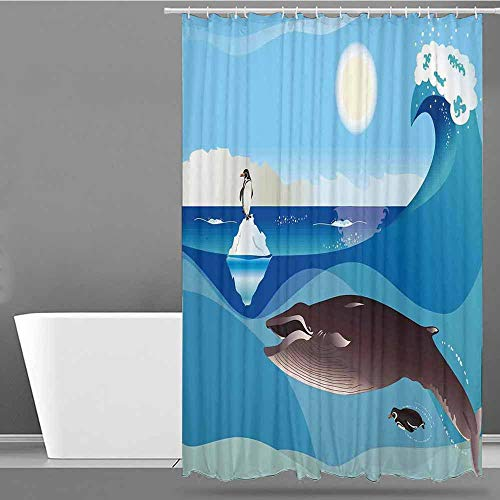 VIVIDX Polyester Fabric Shower Curtain,Whale,North Pole Graphic Landscape with Penguin Wave and Sun Children Love Print,Fabric Shower Curtain Bathroom,W55x84L Blue White and Grey