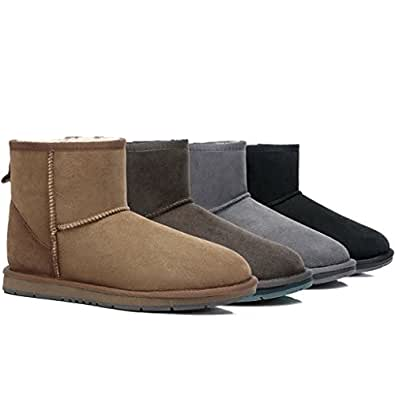 UGG Ankle Boots - Mini Classic Australian Sheepskin, Water Resistant, Non-Slip Chocolate