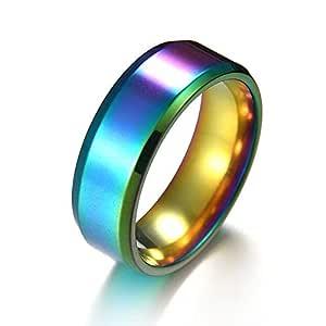Titanium steel rings 8MM mirror Unisex's simple Ring Casual Fashion Rings_8 US