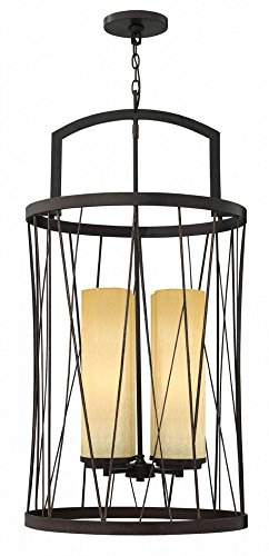 Fredrick Ramond FR41624ORB Four Light Distressed Amber Etched Glass Oil Rubbed Bronze Foyer Hall Semi-Flush Mount ()