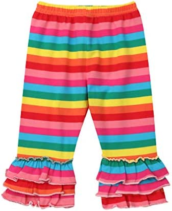 Toddler Kids Baby Girl Rainbow Mermaid Ruffle Bottom Pants Leggings Striped Fish Scale Icing Flower Trousers