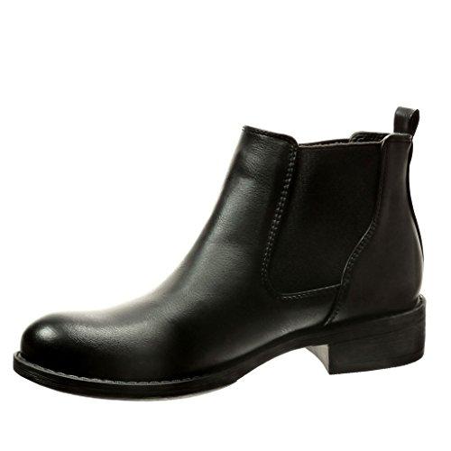 Angkorly - Zapatillas de Moda Botines chelsea boots mujer Hebilla tachonado Talón Tacón ancho 3.5 CM - plantilla Forrada de Piel - Negro