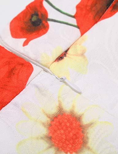 Taille Line DJT Haute Femme Plisse Fleur Midi Rtro Rouge Vintage A Imprime FASHION Jupe Jupe nFn0a8R