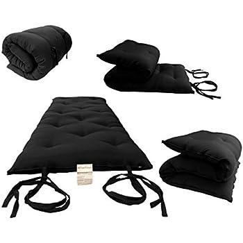 D&D Futon Furniture Full Size Black Traditional Japanese Floor Futon Mattresses, Foldable Cushion Mats, Yoga, Meditaion 54