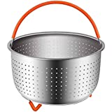 Steamer Basket Accessories For Instant Pot 6 And 8 quart | Sturdy Stainless Steel 304 InstaPot Insert And Strainer | Fits Insta Pot, Other Pressure Cookers And Pots | Silicone Handle And Feet