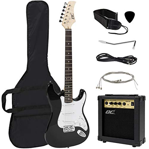 Best Choice Products 41in Full Size Beginner Electric Guitar Bundle Kit w/Case, Strap, 10W Amp, Tremolo Bar – Black