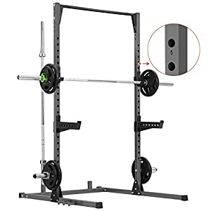 Kicode Power Squat Rack, Heavy Duty Squat Stand Weight Lifting Workout Station, Adjustable Exercise Power Cage with Pull Up Bar for Home Gym