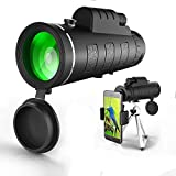 Monocular Telescope 12X50 High Power Spotting Scopes - Low Night Vision Phone Clip Tripod Cell Phone (Black)