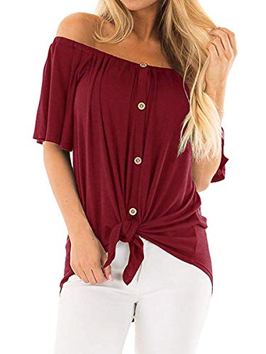 Womens Button Down Off Shoulder Summer Tops Twist Loose Blouses Burgundy L