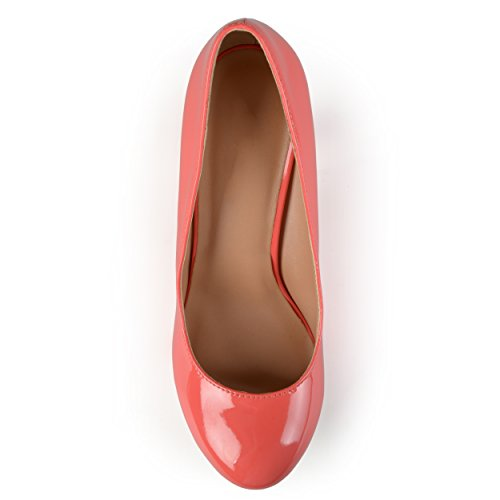 Journee Collection Womens Round Toe Solid Color Pumps Coral Patent uUIZGlt