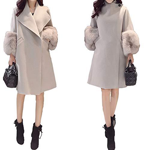 Women Autumn Winter Classic Long Sleeve Overcoat Warm Cotton Wool Blend Long Pea Coat Slim Fit Trench Coat