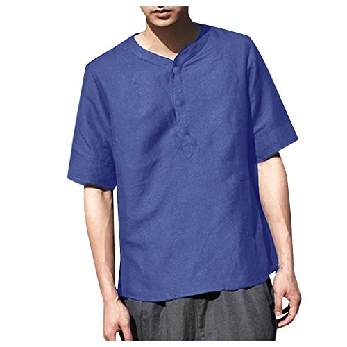 iHPH7 Shirt Button Down Soild Color Short Sleeve Work Casual Summer Cool and Thin Breathable Collar Hanging Dyed Shirt (L,1- Navy) -