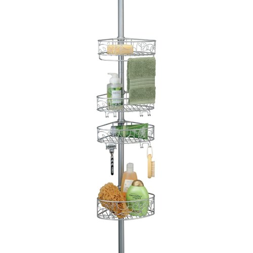 InterDesign Twigz Constant Tension Shower Caddy - Bathroom Storage Shelves for Shampoo, Conditioner and Soap, Silver