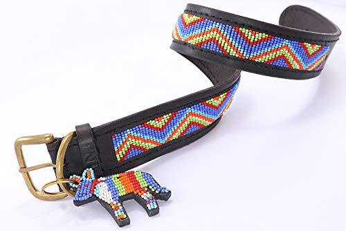 The Original Handmade Beaded Leather Dog Collar by SafariDogCollars - MAASAI BLUE