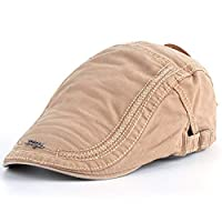 HSRT Mens Cotton Embroidery Painter Berets Caps Casual Outdoor Visor Forward Hat Khaki