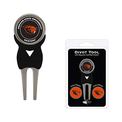 Oregon State Beavers Store - Team Golf NCAA Oregon State Beavers Divot Tool with 3 Golf Ball Markers Pack, Markers are Removable Magnetic Double-Sided Enamel