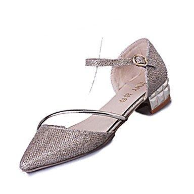 LvYuan Mujer-Tacón Robusto-Confort-Sandalias-Informal Vestido-PU-Plata Oro Silver