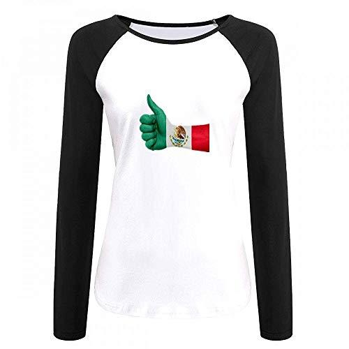(Hand Painted Like Mexican Flag Women Raglan Long Sleeve T-Shirt Black)
