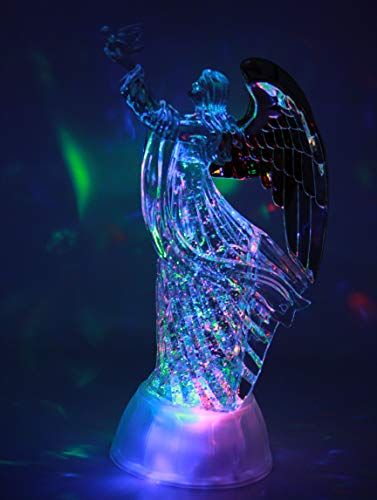 Angel with Dove, LED Lighted Sparkling Multi-Color Changing Home Decorative Figurine Faith Hope Love Peace Angel Statue- by Crystal Collection