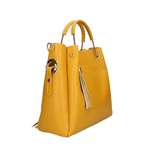 à in main véritable Sac Aren en Jaune Italy Made cuir 33x30x13 femme Cm FZORwSW