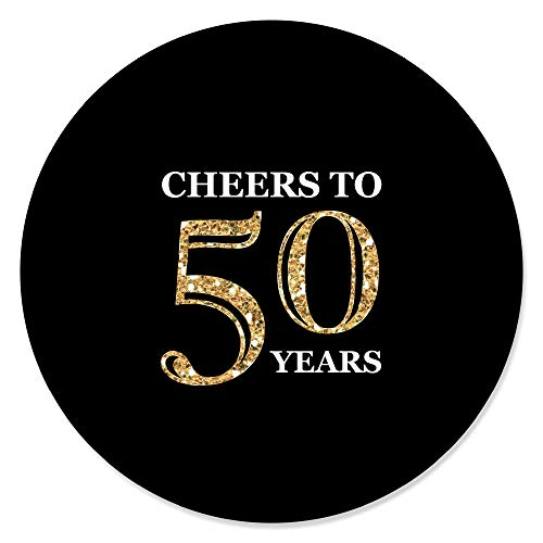Big Dot of Happiness Adult 50th Birthday - Gold - Birthday Party Circle Sticker Labels - 24 Count ()