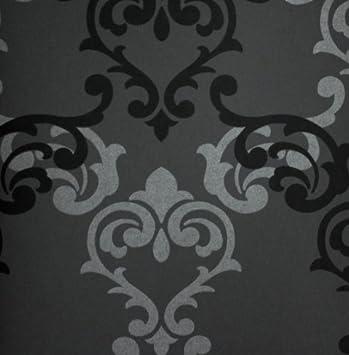 Tapete 785524 Rasch Tapeten Vanity Fair Luxus Ornamente Barock Anthrazit  Schwarz Glänzend Vliestapete