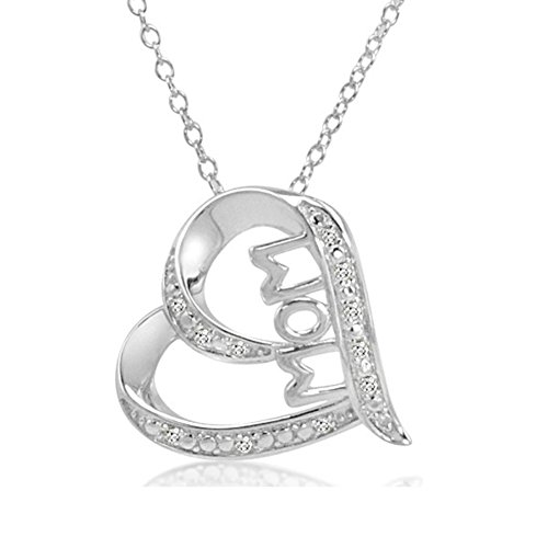 - Mom in Heart Diamond Pendant Necklace in Sterling Silver on an 18 inch Chain