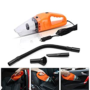 Car Vacuum, Vehicle Vacuum Cleaner for Car Home Use, Potable Handheld Wet & Dry Auto Vacuum Cleaner with 5m cable, LED light (Orange)