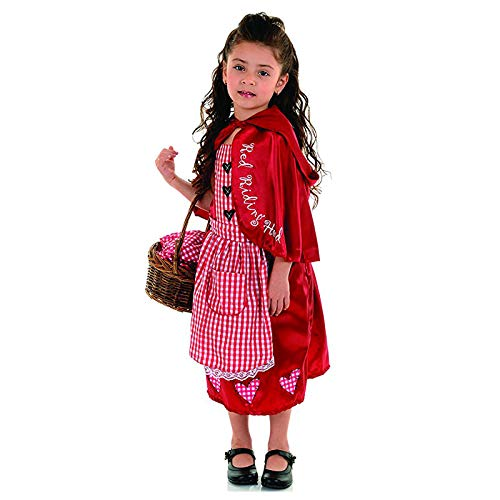 (Girls Little Red Riding Hood Costume Children's Halloween Cosplay Dress-Pink(4-6)
