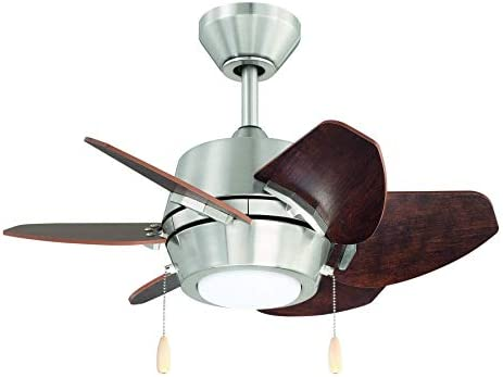 Litex Industries GA24BNK6L Litex Gaskin Sleek 24 Ceiling Fan Brushed Nickel Finish with 6 Glazed Cherry Driftwood Reversible Blades, UL Rated